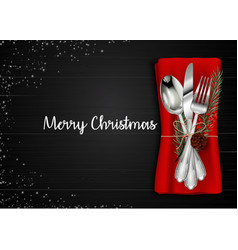 Christmas meal table setting background vector