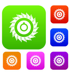 circular saw disk set color collection vector image vector image