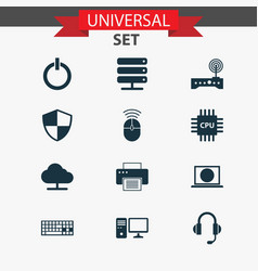 Computer icons set collection of motherboard vector