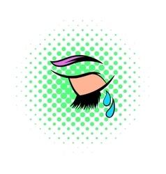 Crying eye icon comics style vector