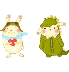 Cute bunnies in fancy dress vector image vector image