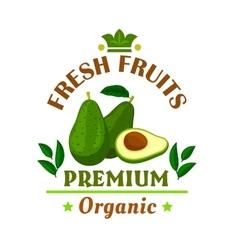 Fresh fruits poster green avocado icon vector