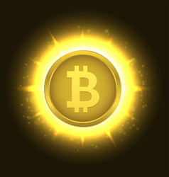 golden bitcoin coin vector image vector image