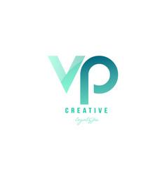 Green gradient pastel modern vp v p alphabet vector
