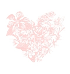 Hand drawn floral heart vector
