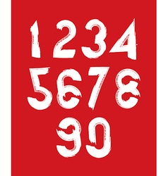 Handwritten white numbers isolated on red vector