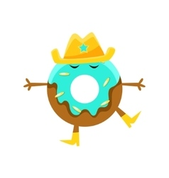 Humanized doughnut with blue glazing and cowboy vector