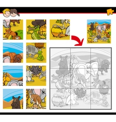 jigsaw puzzles with animals vector image vector image