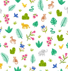 Jungle wildlife pattern on white background vector