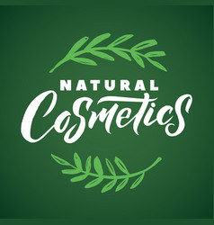 Natural cosmetics logo stroke green leaves vector