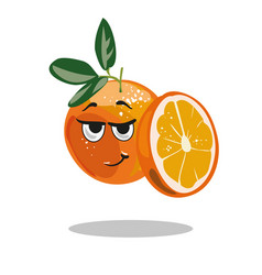 orange character with smart look and half cut vector image vector image