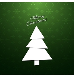 Paper Christmas Tree on a green background vector image vector image