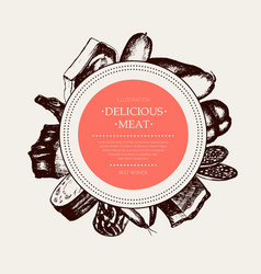 Processed meat - hand drawn round banner vector