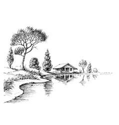 River bank panorama nature artistic sketch vector