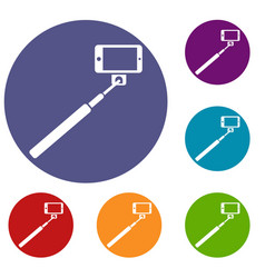 Selfie stick and smartphone icons set vector