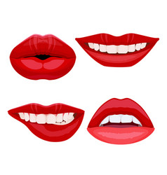 Set of bite lips with dental smile sexy ideal vector