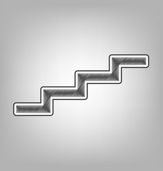 Stair up sign pencil sketch imitation vector