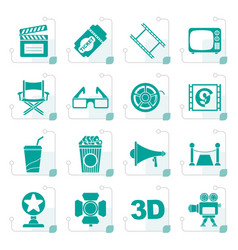 Stylized cinema and movie icons vector