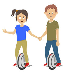Teenagers couple riding unicycle electric scooters vector
