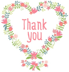 Thank you floral heart wreath vector