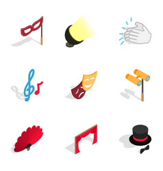 Theater performance icons isometric 3d style vector