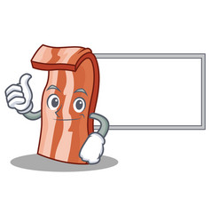 Thumbs up with board bacon character cartoon style vector