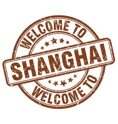 Welcome to shanghai brown round vintage stamp vector
