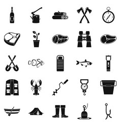 Winter fishing icons set simple style vector