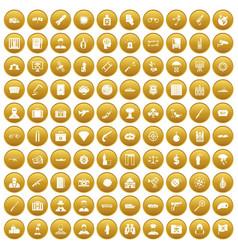 100 antiterrorism icons set gold vector