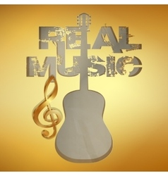 Real music gold stencil guitar vector