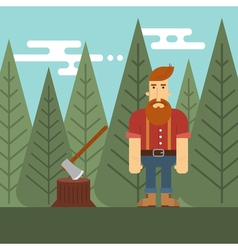 Lumberjack in the wood vector