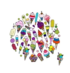 Icecream collection sketch for your design vector image