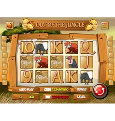Game template with wild animals in jungle vector