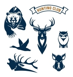 Hunting sport club animals icons vector