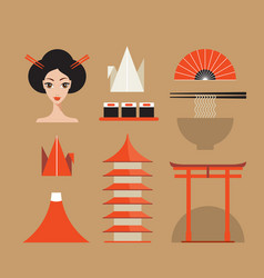 Japan icons set asia design elements collection vector