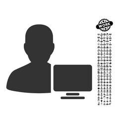 Computer administrator icon with job bonus vector
