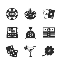 Casino iconset for design contrast flat vector