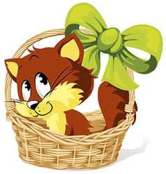 Kitty in basket vector