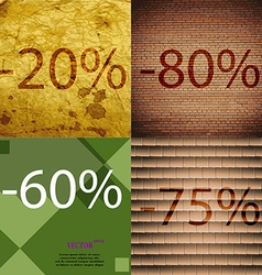 80 60 75 icon set of percent discount on abstract vector