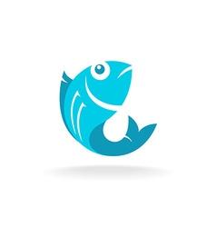 Fish logo flat blue colors vector