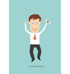 Businessman jumping with money in hand vector