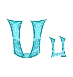 Low poly letter u in blue mosaic polygon vector