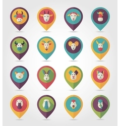 Farm animals mapping pins icons vector