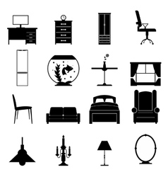 Furniture black icons set vector