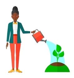 Woman watering tree vector