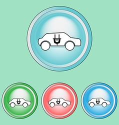 Ecology icons set ecological car vector