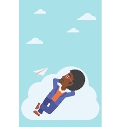 Businessman lying on cloud vector