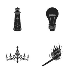 a lighthouse an incandescent lamp a chandelier vector image vector image
