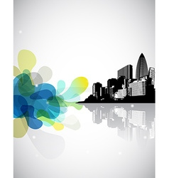 Abstract with cityscape and blue green clouds fron vector image vector image