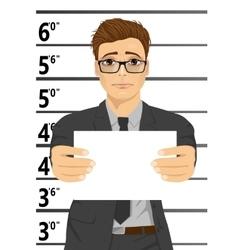 Arrested businessman posing for mugshot vector